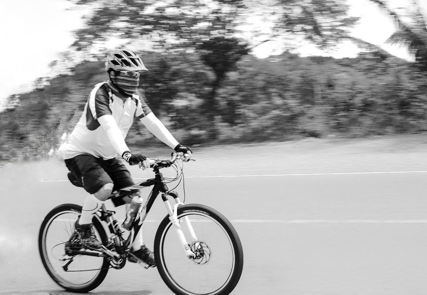 speed of white EyeEm Best Shots EyeEm Gallery EyeEm Selects EyeEm EyeEmBestPics Panningphotography Panning Cyclist Cycling Bicycle Mountain Bike Highway