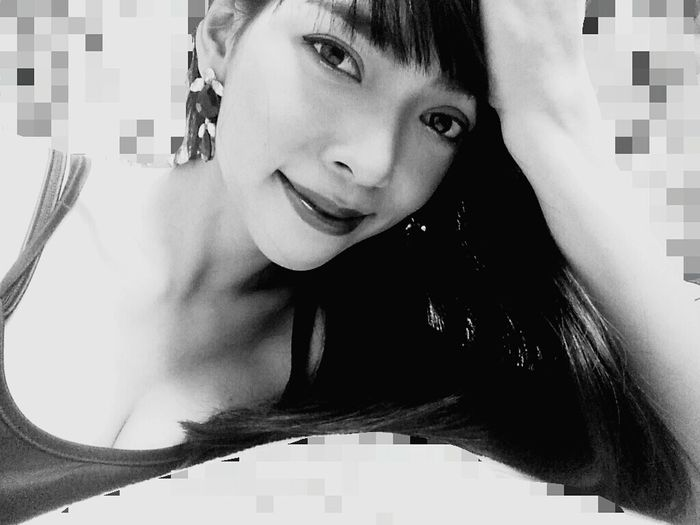 Black And White Real Me Smiling Alone MyDay Don't Care Spacial Time My Lipstick  Vintage