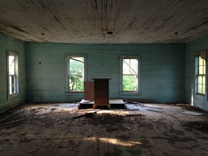 Interior of abandoned schoolhouse