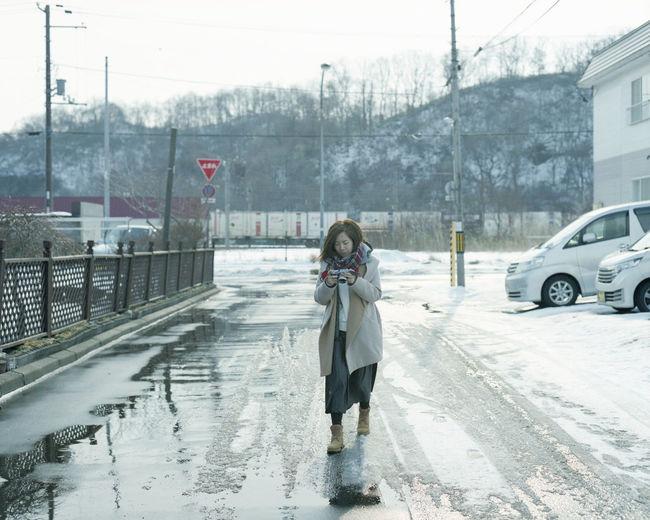Beautiful Camera Enjoying Life Eye4photography  EyeEm EyeEm Best Shots EyeEm Gallery Film Film Photography Hokkaido Holiday Japan Pentax PENTAX67 Portrait Pro400H Relaxing Road Snow Wet Winter Enjoy The New Normal