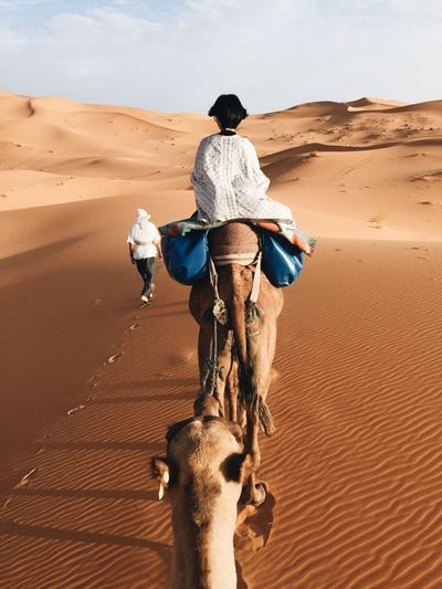 Rear View Of Woman Riding Camel At Desert