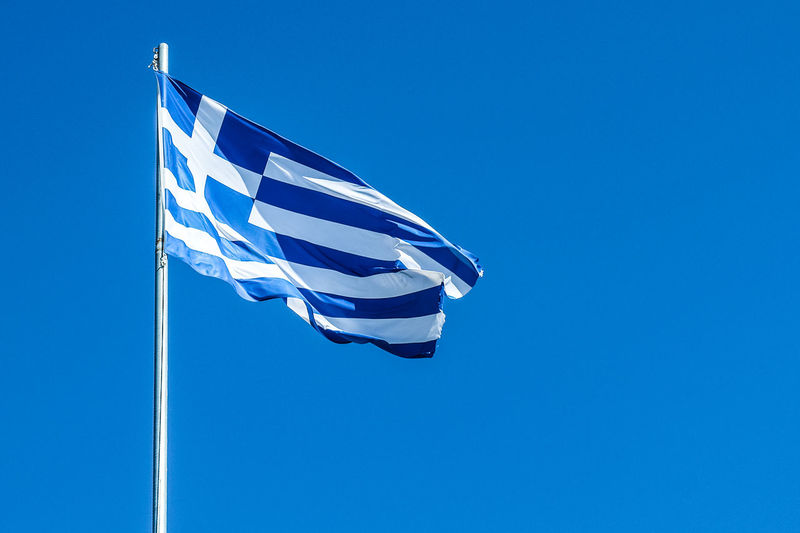 Blue Clear Sky Day Flag Greece Greek Greek Flag Island Low Angle View No People Outdoors Patriotism Sky Striped Trip