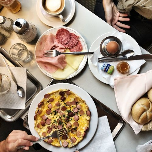 Cafe Lifestyle Breakfast In Vienna Viennese Breakfast Food And Drink Food Table Freshness Plate Ready-to-eat Human Hand