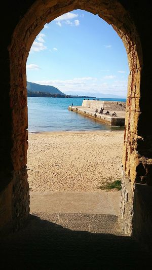Arch Sea History Beach Nature Cultures Architecture Cefalú, Sicilia, Mare, Paesaggio Natural Arch Indoors  Scenics Day No People Sky