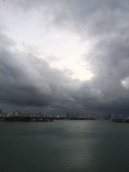 Good Morning Happy Sunday Moon And Clouds Sky And Clouds Cloudy Cityscape Waterfront Architecture No People Day Biscayne Bay