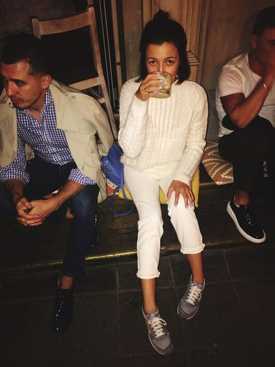 Street Streetphotography Fun Relaxing Modern Girl White Party Drink Peoples People Metting Sunday Night Evening