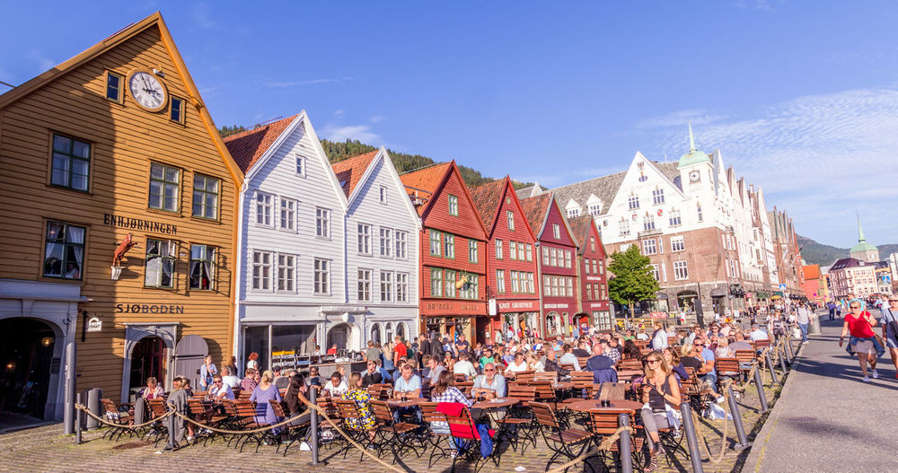 Architecture Bergen Celebration Clear Sky Colourful Eeyem Photography Norway Perfect Weather Pub Scandinavia Street Light Local Food Norway In A Nutshell Restaurant Streetphotography Travel Destinations