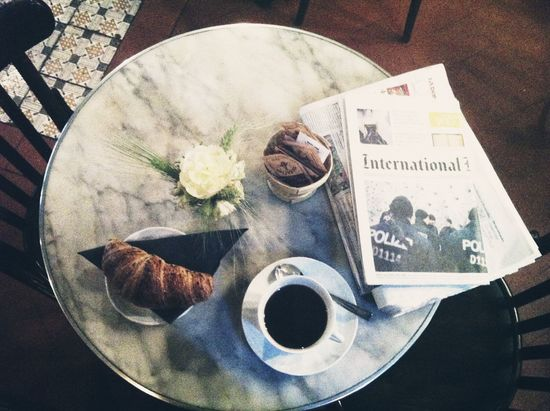 Breakfast Bistro Crossaint Coffee Newspaper My Favorite Breakfast Moment Favorite Places Black Coffee