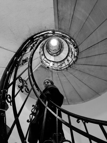 Stairs Built Structure Architecture Circular Stairway Girl Woman Real People One Person St Matthias Church Budapest Happiness Indoors  Black And White My Year My View The Architect - 2017 EyeEm Awards The Portraitist - 2017 EyeEm Awards