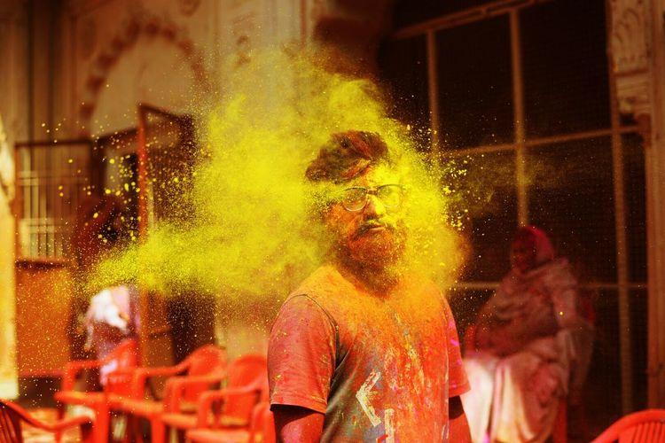 Man In Powder Paint During Holi