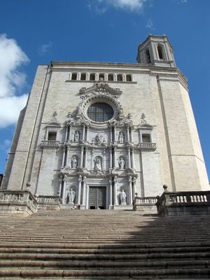 Architecture Blue Built Structure Cloud Cloud - Sky Day Façade Girona Cathedral Low Angle View Outdoors Sky Travel Destinations