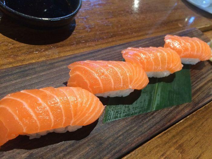 salmon sushi on
