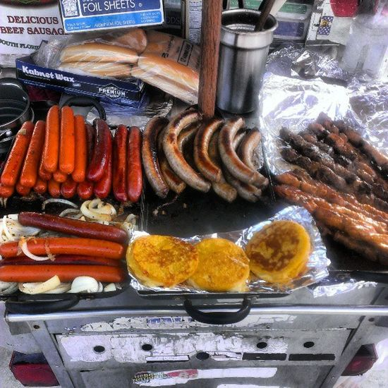 Pincho hot dogs Arepa sausages Foodporn HollaAtMe Marlins  Dontcallmeforfronts NoDullMoments Swaggu ChefPipón