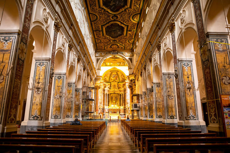 Italy Amalfi  Amalfi Coast Religion Architecture Belief Built Structure Place Of Worship Building Spirituality Indoors  Travel Destinations Pew The Past History Altar Arch Ornate No People Architectural Column Ceiling Aisle