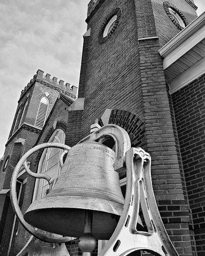 church bell in The Ham..... Ks_pride Church Churchbells Country World_bnw Wow_america_bnw Mason Brickchurch Kansaschurch Kansasphotos