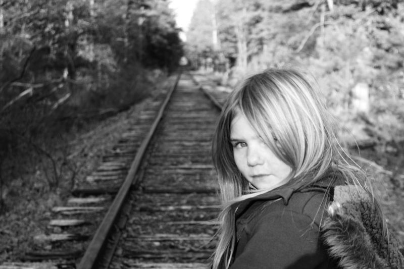 One Person Tree Railroad Track Young Adult Outdoors Blond Hair Young Women Women Real People People Adult Portrait Day Adults Only One Young Woman Only Focus On Foreground Close-up Tranquility Depth Of Focus Depth Of Field Dof_brilliance Tranquil Scene Backgrounds