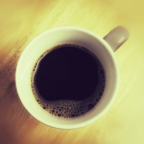 Mug of fresh black coffee Drink Coffee Cup Refreshment Coffee - Drink Cup Close-up Table High Angle View No People Directly Above Coffee Indoors  Beverage Freshness Day