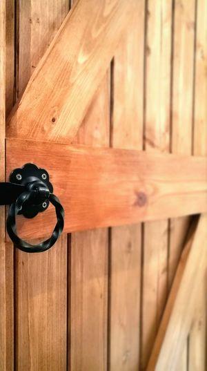 Wooden Door Handle Open Barn Door Opportunities Security Protection Closed Safety Lock Metal Indoors  Focus