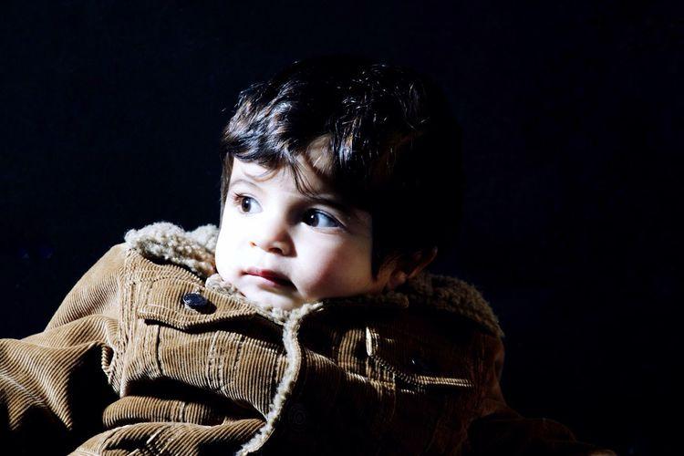 Baby Boy Denim Jacket Looking Sideways Single Light Source Black Background My Best Photo 2015 Showcase: December