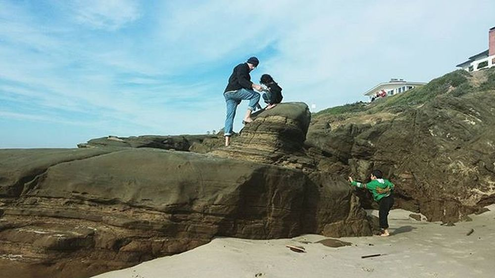 Dad and the boys climbing rocks. Windnsea Beach San Diego Boys Being Boys Family La Jolla