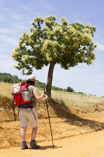 Side view of hiker in hat with backpack walking on dirt road against sky during sunny day