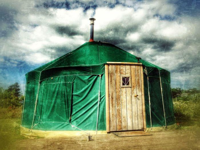 A yurt used for camping holidays. Burnham Deepdale, Norfolk, England. British Burnham Deepdale Camping Campsite Dwelling England English Glamping Holidays Mongolian Norfolk Summer Tent Uk Vacation Yurt