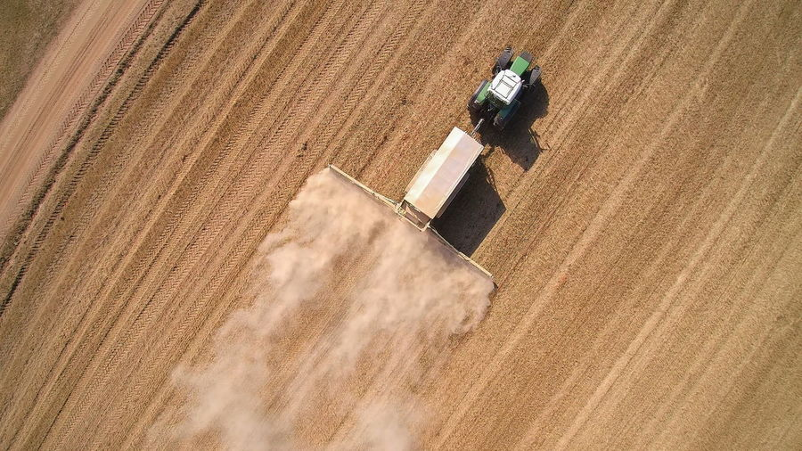 High angle view of person working on field