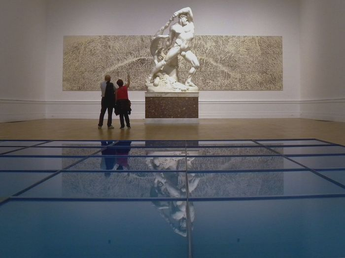 Water Reflections Water Symmetrical Reflection Reflection Photography Museum Art Contemporary Art Statue Canova Blue Symmetry At The Museum Modern Art Indoors  People People