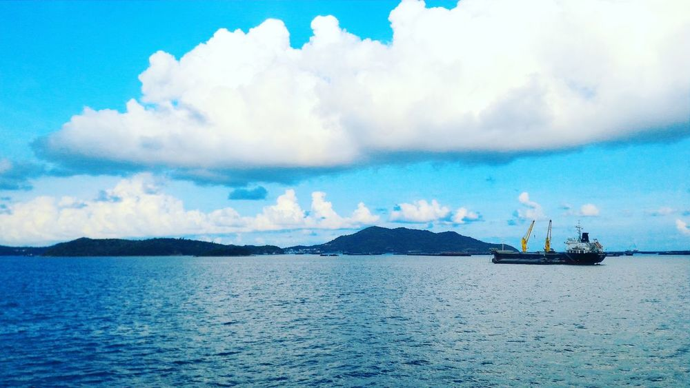 Sea Cloud - Sky Water Sky Outdoors Blue Nature Nautical Vessel Seamanlife Transportation Eyeem Philippines Hello World Helloeyeempeople Beauty In Nature Marino Likeforlike Horizon Over Water Day Thailand