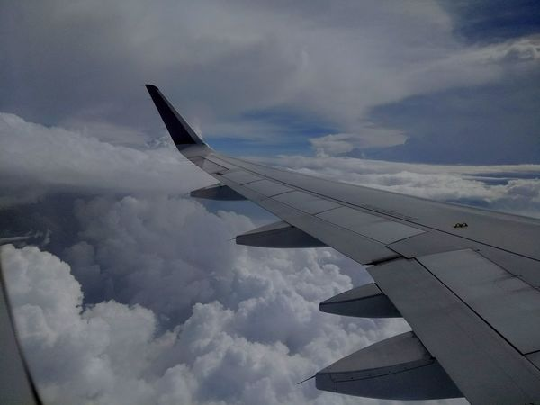 Airplane Cloud - Sky Sky Flying Transportation Aerial View Aircraft Wing Air Vehicle Day Nature Been There. Winglet Big Clouds Dramatic Sky Colour Photography Documenrary Photography Seascape Skyscape