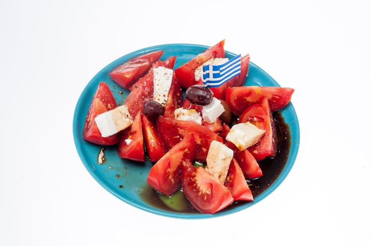 Greek Salad Feta Cheese Tomatoes Plate Studio Shot White Background Food And Drink Greek Flag Olives Dressing