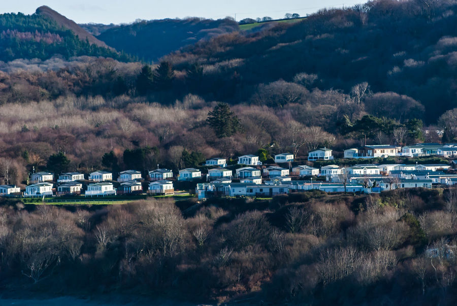 Holiday park in New Quay Caravan Caravan Park Day Holiday January Landscape Mountain No People Outdoors Scenics Travel Travel Destinations Tree Winter