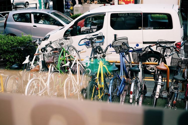 Japan Tokyo Bycicle Car Day Land Vehicle Mode Of Transport No People Outdoors Stationary Transportation