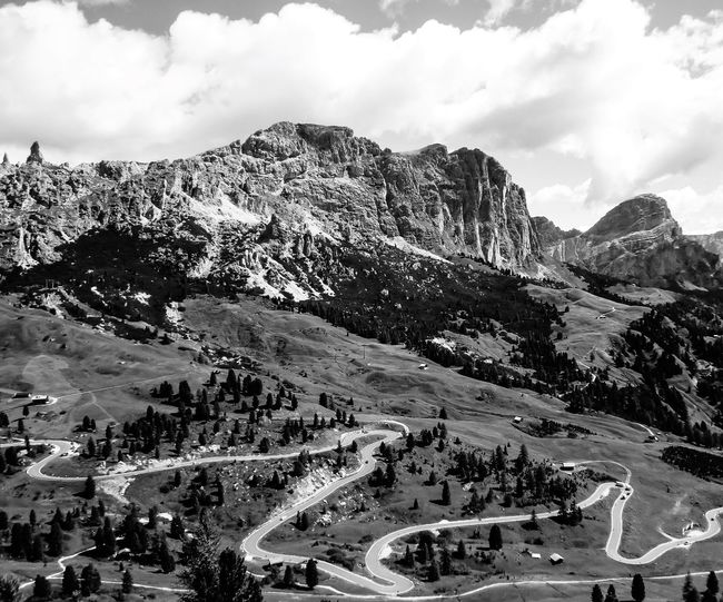 Dolomites in Black and White EyeEm Best Shots EyeEmNewHere EyeEm Nature Lover Mountain Car Transportation Outdoors Sky High Angle View Day Road Landscape Cloud - Sky Beauty In Nature Nature No People EyeEmNewHere