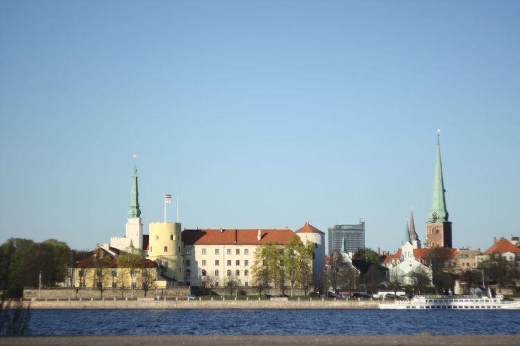 Architecture Bike Building Exterior Clear Sky Daugava Day No People Panorama Place Of Worship Riga Riga Latvia RigaCity Sky Water