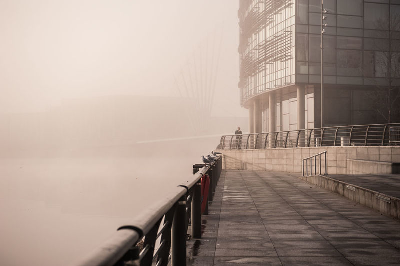 #urbanana: The Urban Playground BBC Salford Quays Architecture Building Exterior Built Structure Day Fog Media City Salford Railing Transportation