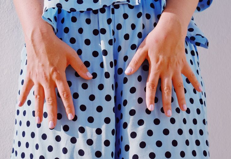 Blue Hand Outdoors Human Body Part Body Part Human Hand Spotted Hand Lifestyles People Women Pattern Real People Polka Dot Low Section Limb Human Limb The Fashion Photographer - 2018 EyeEm Awards Urban Fashion Jungle #urbanana: The Urban Playground