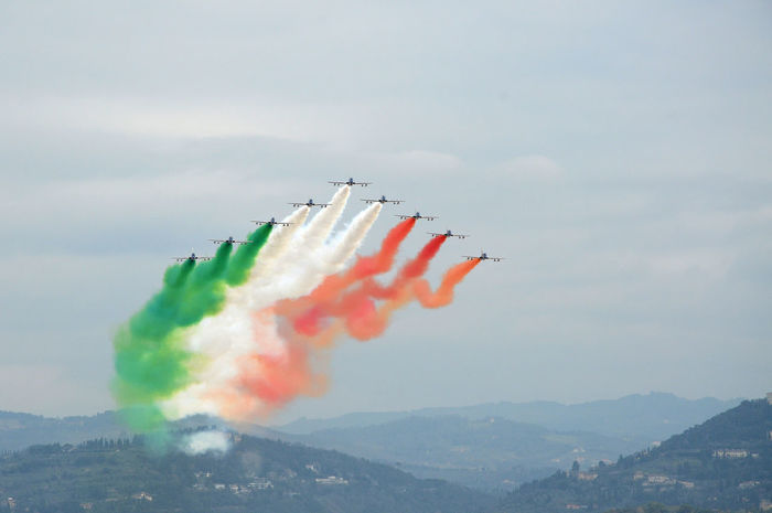 Florence, Italy - March, 28 2018: Airshow of PAN Frecce Tricolori. The Frecce Tricolori in the sky of Florence for 95th birthday of the Italian Air Force in Florence. The team flies the Aermacchi MB-339-A/PAN. 2018 339 Aermacchi MB-339-A/PAN AirPlane ✈ Firenze, Italy Florence Italy Show Acrobat Acrobatic Air Aircraft In The Sky Airplane Arrows Aviation Aviationphotography Demonstration Editorial  Fighter Plane Frecce Tricolore Frecce Tricolore Airshow Frecce Tricolori Frecce Tricolori Airshow Italian Jet Military Airplane