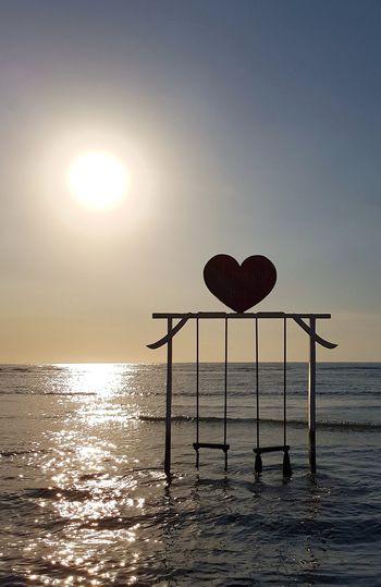 Horizon Over Water Travel Destinations Love Heart Backlight Sea Water Beach Nature Paradise Sky Paradise Beach Sunset_collection Sunset INDONESIA Idyllic Falling In Love Swing Honeymoon Dream Travel