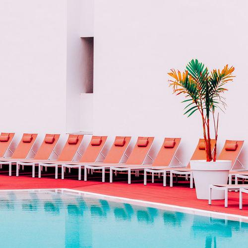 Minimalistic location. pool. fashion vacation mood