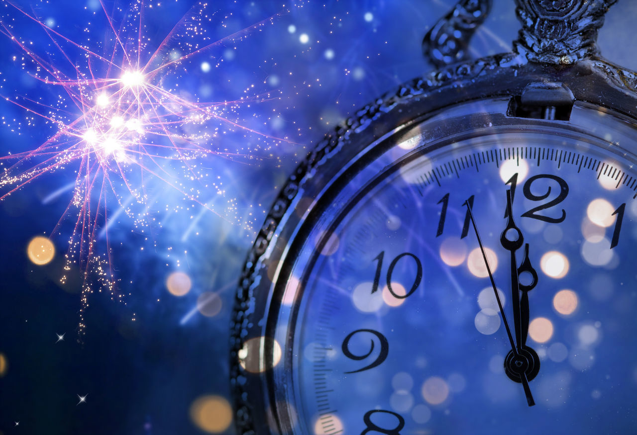 clock, time, number, no people, celebration, instrument of time, illuminated, event, night, indoors, close-up, blue, clock face, focus on foreground, watch, alarm clock, minute hand, still life, glowing, hour hand, purple