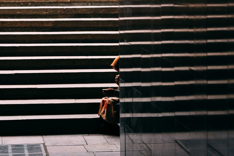 Stairs Outdoors Day Street Streetphotography People Street Photography Streetphoto VSCO One Person Woman Woman Poor  Street Life Stairs Underground The Street Photographer - 2017 EyeEm Awards