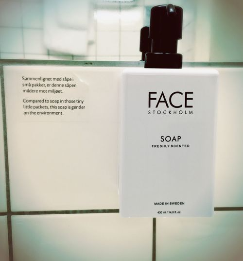 """""""Compared to soap in those tiny little packets, this soap is gentler on the environment."""" Alesund Ålesund, Norway Scandinavia Scandic Hotel Green Environment Protection Soap Minimalism Travel Photography Consciousness Savetheplanet Itssnowing White Face Stockholm MADE IN SWEDEN"""