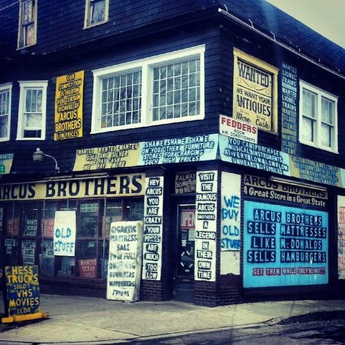 The mighty Arcus Bros. Signs Advertising Haggling Mattresses vhstapes webuyoldstuff Bloomsburg gaudy overkill privatelyowned excessive warehouse emporium