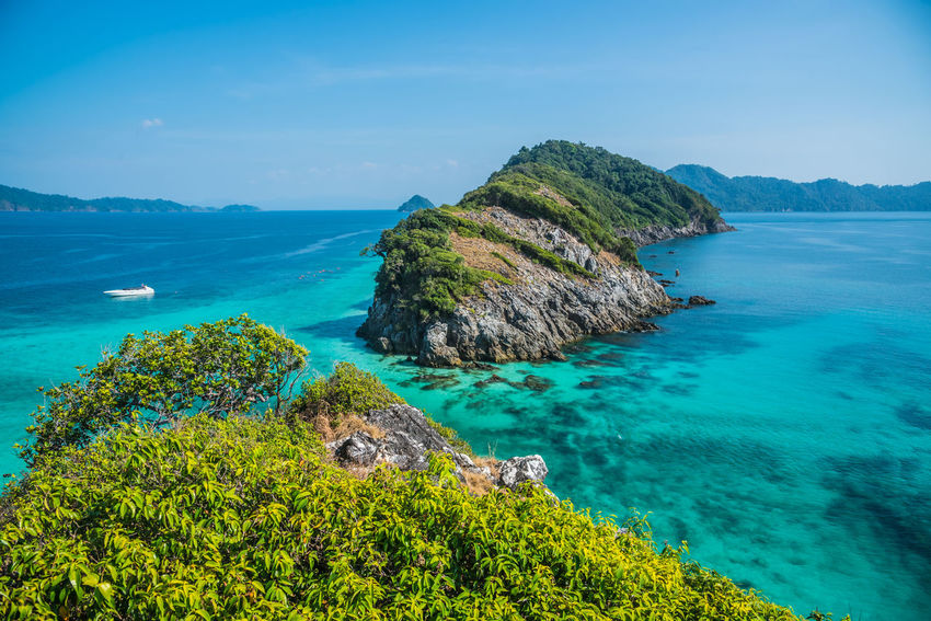 View point on mountain, blue sea at Cockburn Island, Myanmar. Boats⛵️ Cockburn Swimming Travel Beach Blue Cliff High Angle View Horizon Over Water Idyllic Island Landscape Mountain Nature Ocean Outdoors Scenics Sea Seascape Sky Tranquil Scene Tranquility Tree Turquoise Water