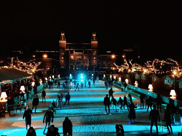 Winter in Amsterdam Eye For Travel Netherlands Museumplein Dutch Wintercity Rijksmuseum Amsterdam Night Ice Rink Ice-skating Winter Shades Of Winter First Eyeem Photo Shades Of Winter Shades Of Winter