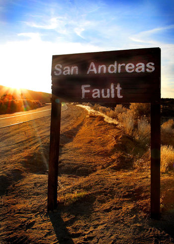 Fault Line San Andreas Fault Day No People Outdoors Pearblossom, Ca Road Sign Sunlight Sunset