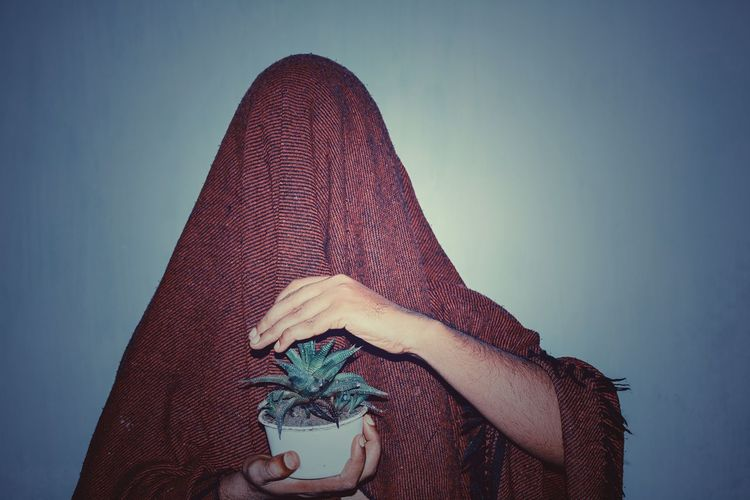 Scarf covered person holding potted plant against blue background