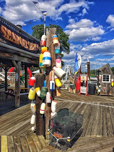 Showcase July Water Red July Summertime Summer New England  Connecticut Bridgeport  Harbor Harbour Clouds Sky Structure Building Captains Cove Wood Pier Fishing Float Floats Walkabout