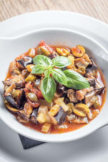 Aubergine Basil Caponata Food And Drink Herb Meal Temptation Bowl Food Foodphotography Fresh Freshness Garnish Healthy High Angle View Indoors  Indulgence No People Organic Ready-to-eat Serving Size Still Life Tabletop Tomato Yummy